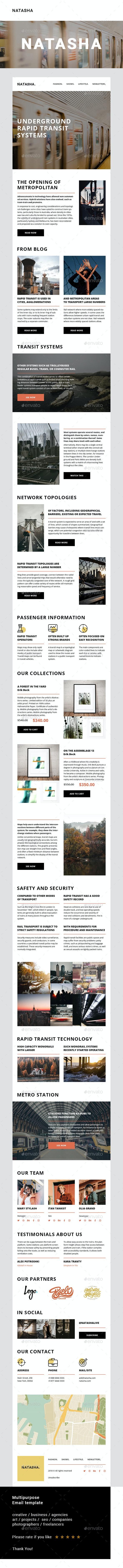 Natasha – Multipurpose Email Template - E-newsletters Web Elements
