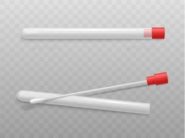 Laboratory Cotton Swabs with Sterile Tubes Vector - Technology Conceptual