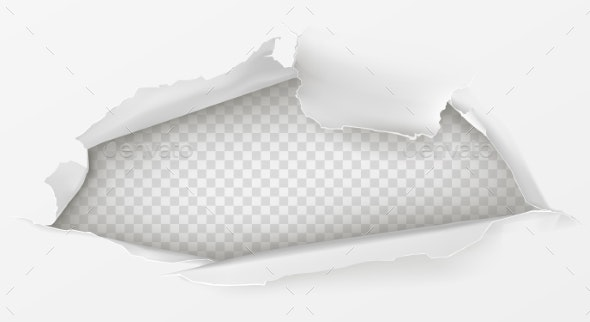 Hole in White Paper Sheet 3d Realistic Vector - Backgrounds Decorative
