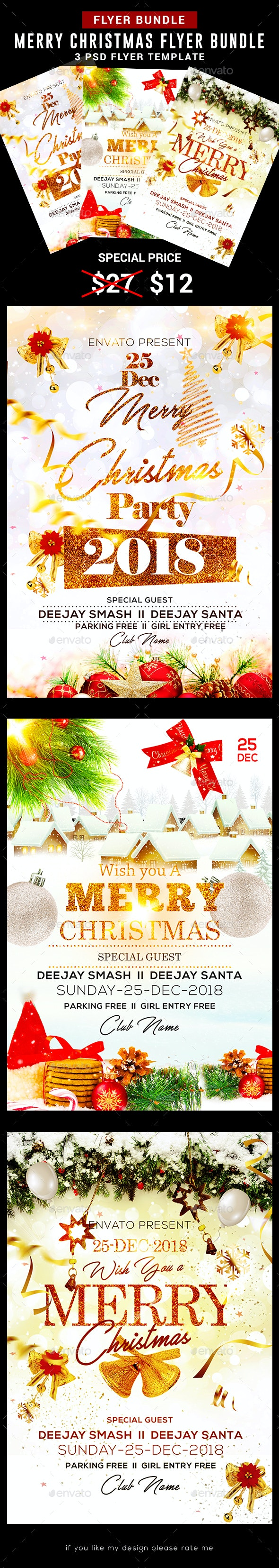 Merry Christmas Flyer Bundle - Clubs & Parties Events