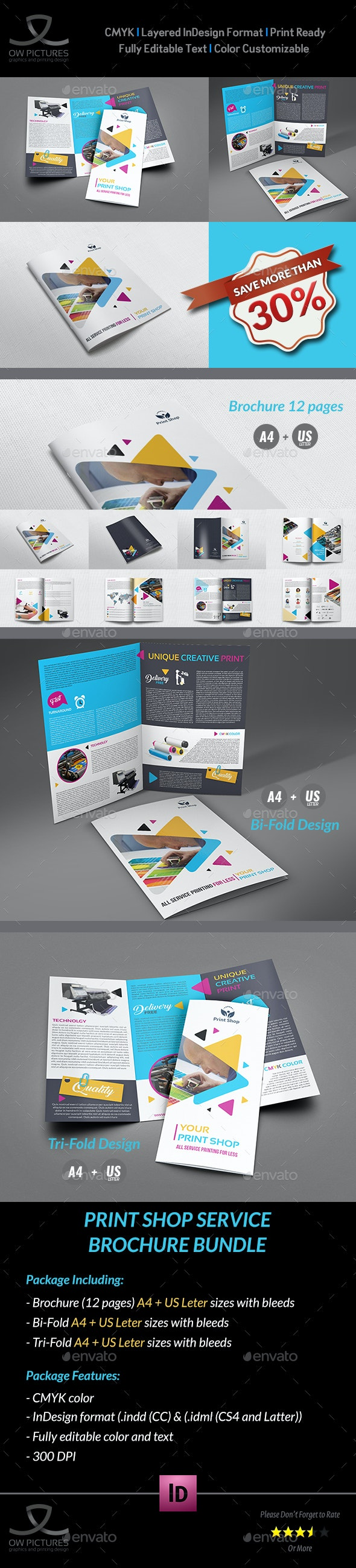 Print Shop Brochure Bundle Template - Brochures Print Templates