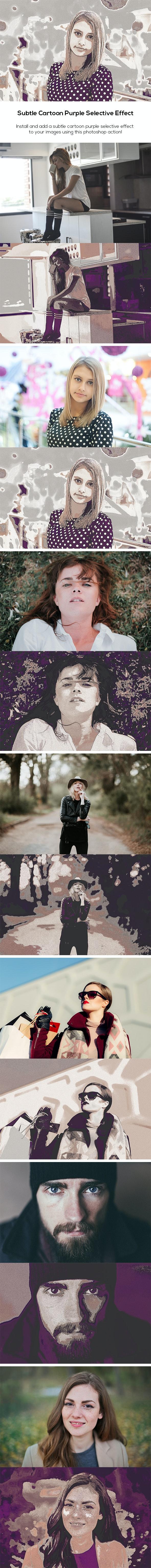 Subtle Cartoon Purple Selective Effect - Photo Effects Actions