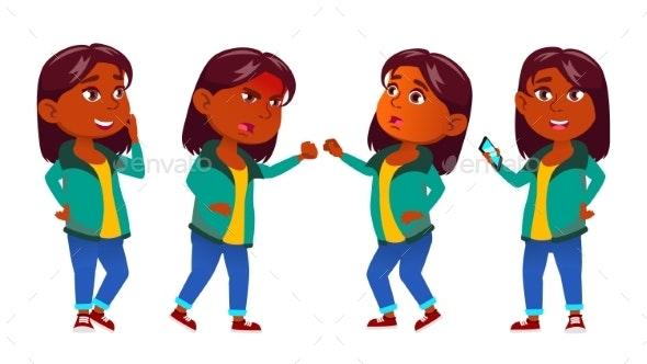 Girl Kid Poses Set Vector. Indian, Hindu. Asian - People Characters