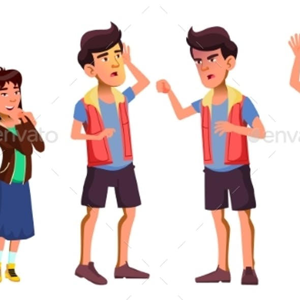Asian Teen Boy Poses Set Vector. Activity