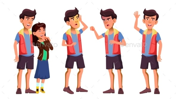Asian Teen Boy Poses Set Vector. Activity - People Characters