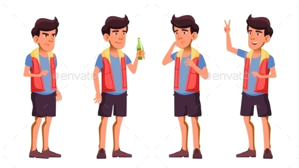 Asian Teen Boy Poses Set Vector. Beer. Hello - People Characters