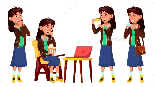 Asian Teen Girl Poses Set Vector. Watching Film - People Characters