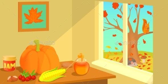 Autumn Horizontal Banner, Cartoon Style - Flowers & Plants Nature