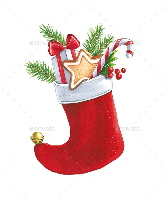 Christmas Sock with Gifts - Illustrations Graphics