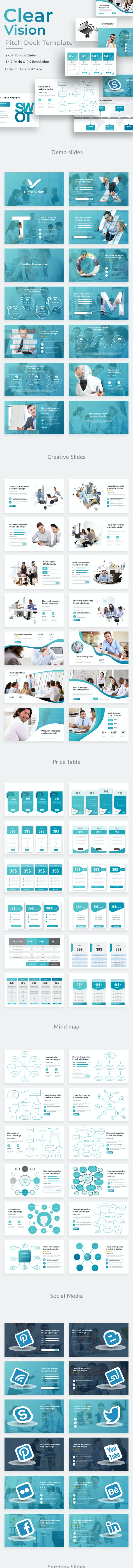 Clear Vision Pitch Deck Powerpoint Template - Business PowerPoint Templates