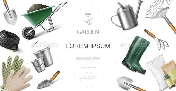 Realistic Garden Equipment and Instruments Concept - Miscellaneous Vectors