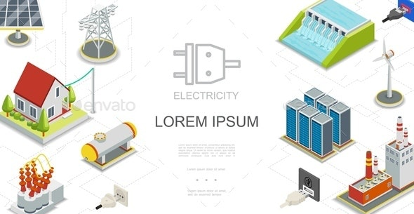 Isometric Electricity and Energy Concept - Industries Business