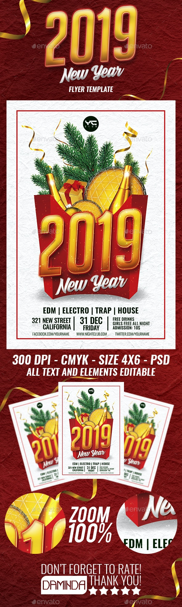 Happy New Year 2019 Flyer Template - Holidays Events
