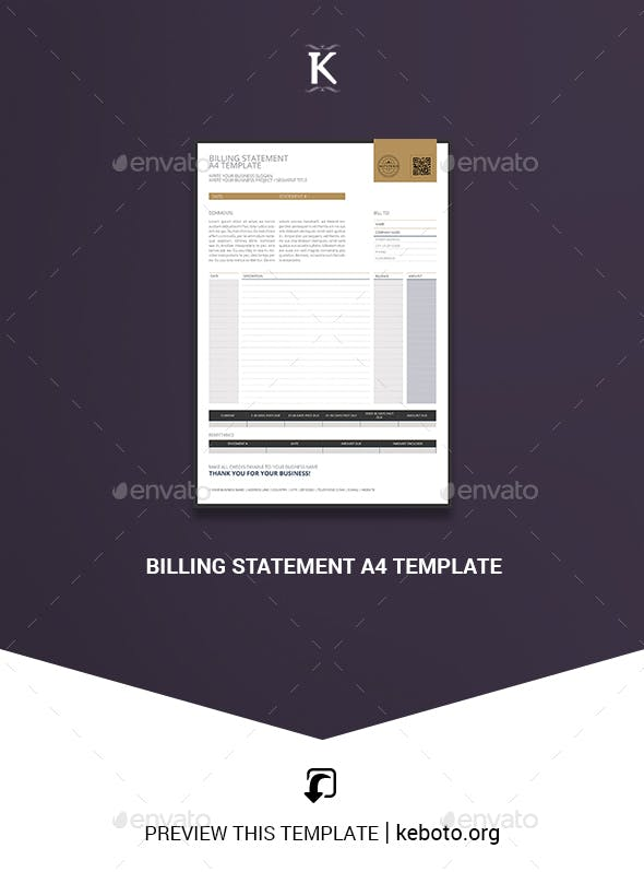 Billing Statement A4 Template