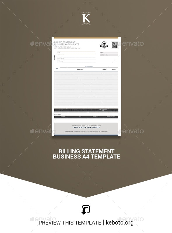 Billing Statement Business A4 Template - Miscellaneous Print Templates