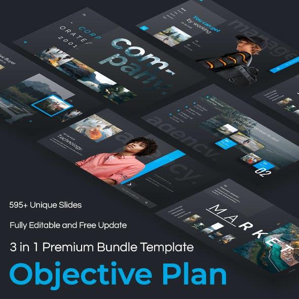 Objective Plan 3 in 1 Pitch Deck Bundle keynote Template