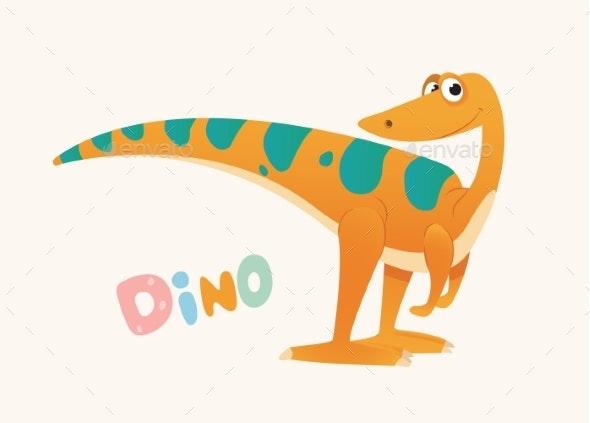 Orange and Green Cartoon Baby Dino - Animals Characters