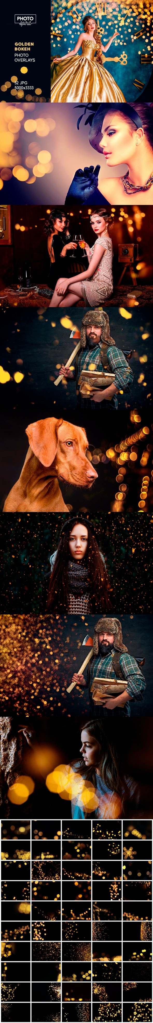 Golden Bokeh Photo Overlay Effects - Photo Effects Actions