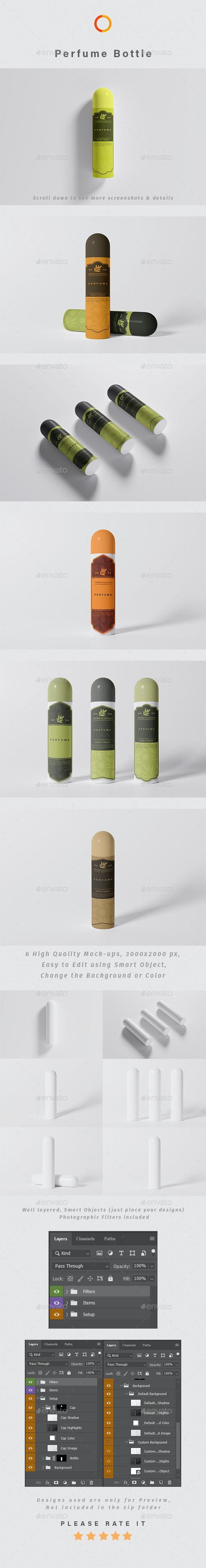 Perfume Bottle Photoshop Mock-up - Packaging Product Mock-Ups