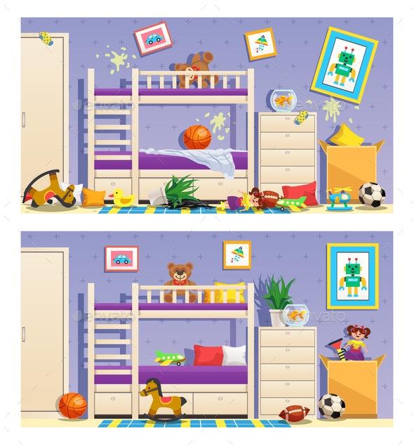 Children Room Interior Banners - Animals Characters