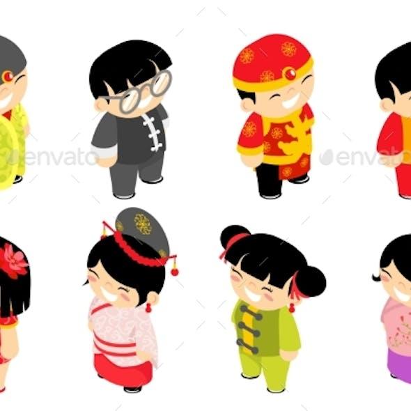 Isometric Chinese Children Characters New