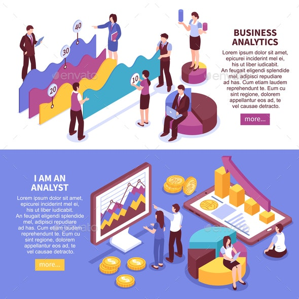 Business Analyst Banners Set - Business Conceptual