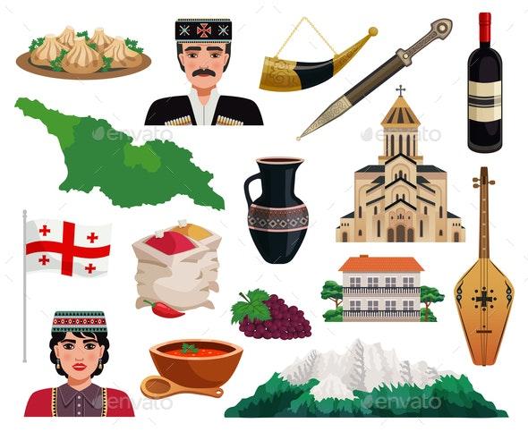 Georgia Tourism Flat Set - Buildings Objects