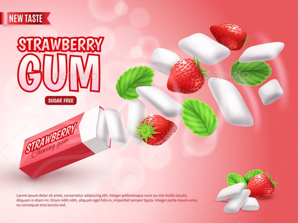 Realistic Chewing Gum Advertising Composition - Backgrounds Decorative