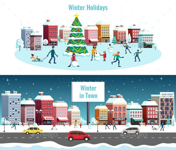 Winter City Horizontal Banners - Buildings Objects