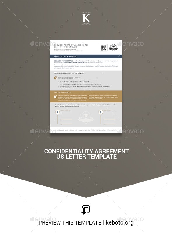 Confidentiality Agreement US Letter Template - Miscellaneous Print Templates