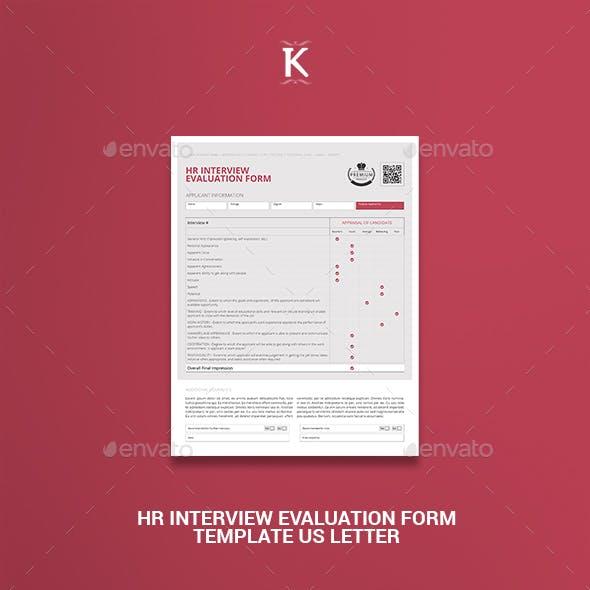 HR Interview Evaluation Form Template US Letter