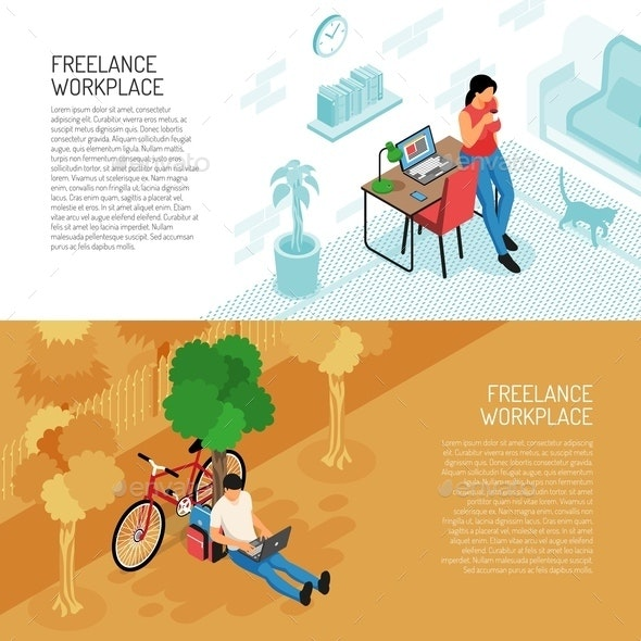 Freelance Workplace Horizontal Banners - Business Conceptual