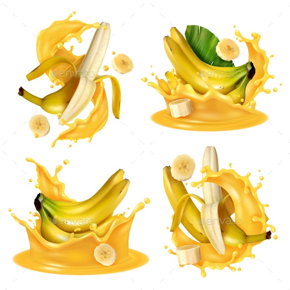 Realistic Banana Splash Set - Food Objects