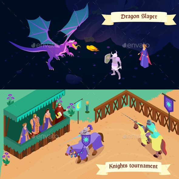 Medieval Isometric Banners - Animals Characters