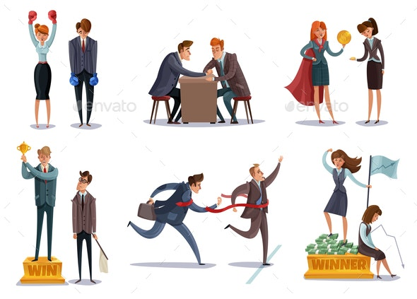 Business Competitions Doodle Set - People Characters