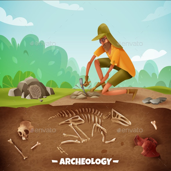 Archeologist Outdoor Expedition Background - Miscellaneous Vectors