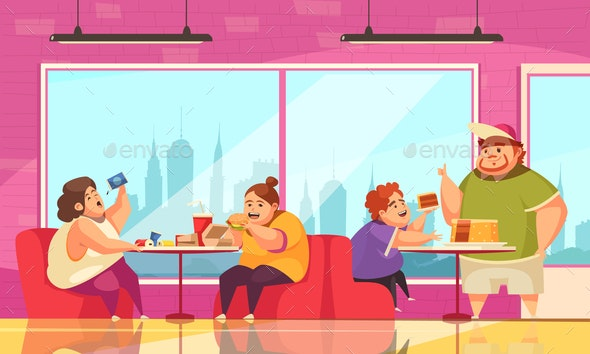 Gluttony And Cafe Background - People Characters