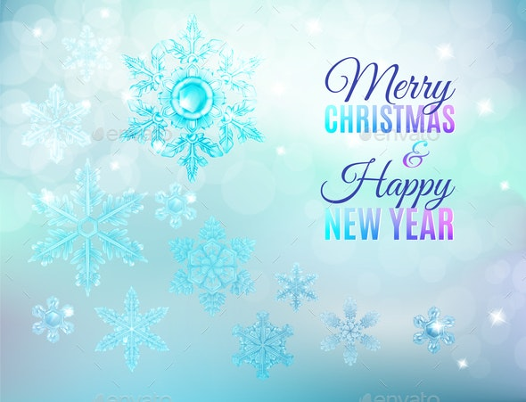 Christmas Ice Snowflake Background - Seasons/Holidays Conceptual