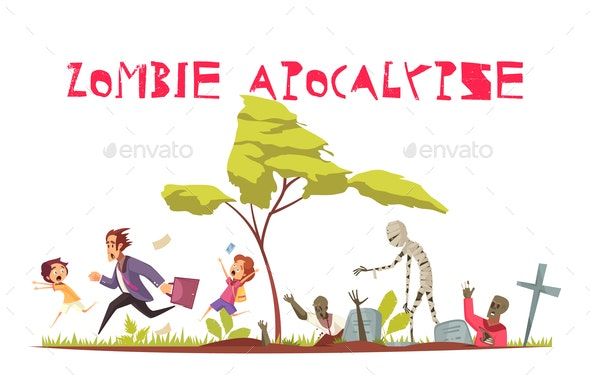Zombie Attack Concept - People Characters