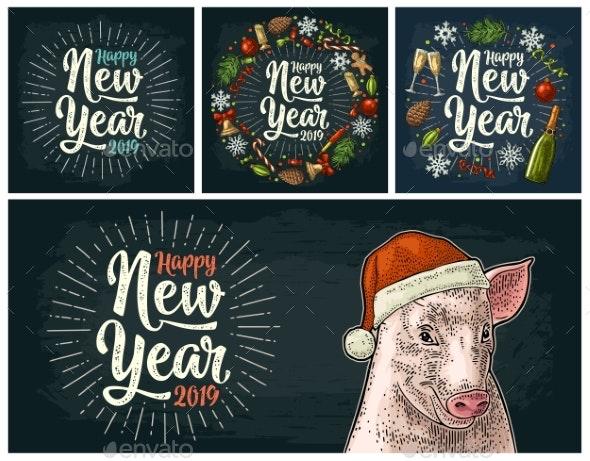 Pig Head in Santa Claus Hat Vector Color Vintage - New Year Seasons/Holidays