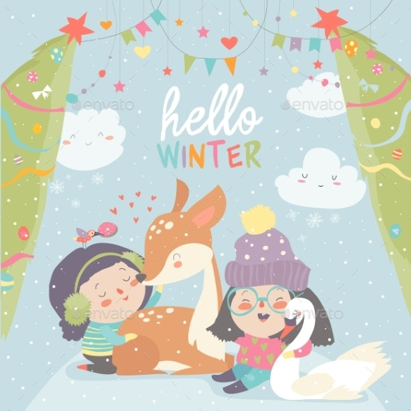 Cartoon Girls with Deer in Winter - Seasons Nature