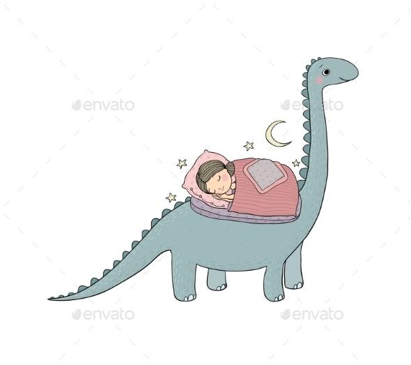 Sleeping Girl and Dinosaur - People Characters