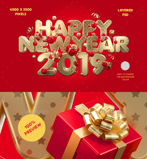 Happy New Year 2019 - 3D Backgrounds
