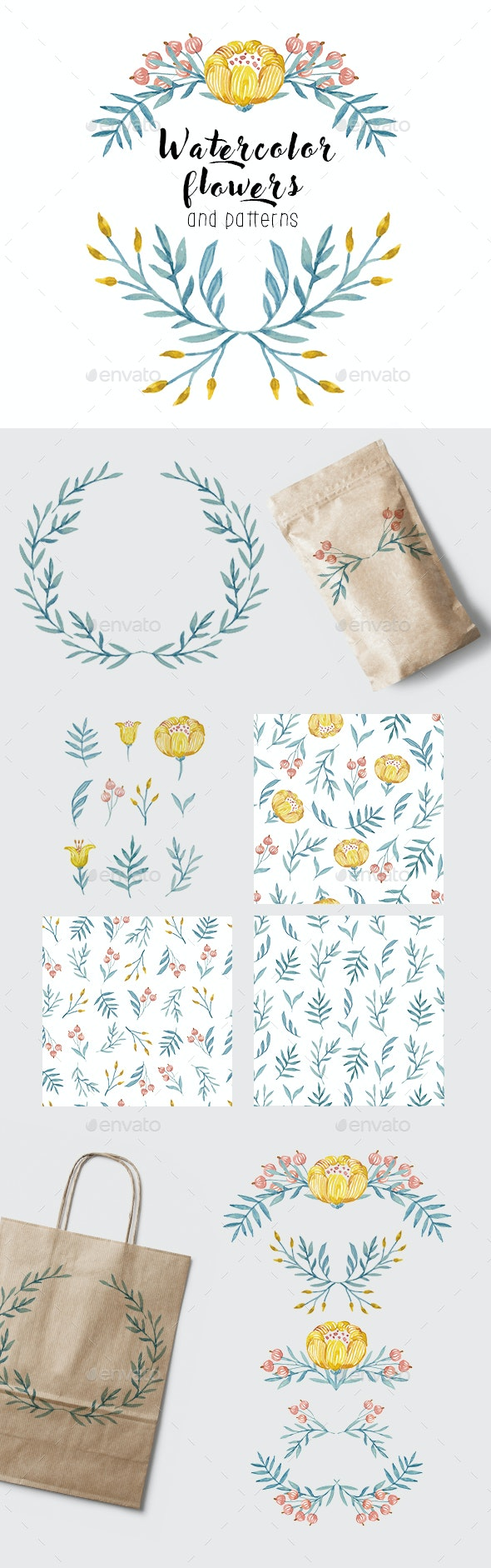 Yellow Flowers and Herbs Watercolor - Illustrations Graphics