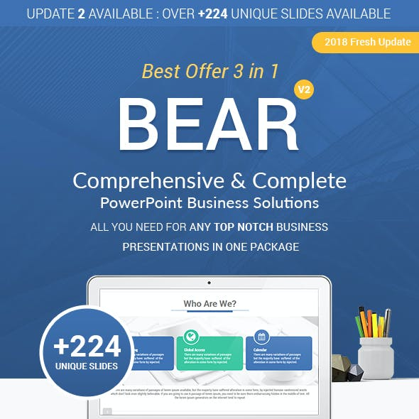 3 in 1 Bear PowerPoint Template Bundle - Complete Business Solutions