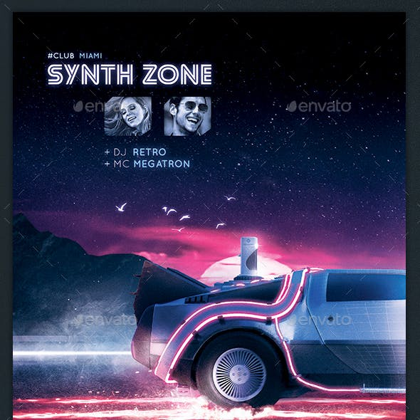 Synthwave Flyer v9 Retrowave 80s Neon Vaporwave Poster