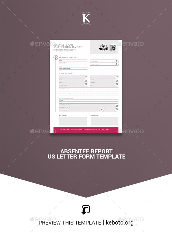 Absentee Report US Letter Form Template - Miscellaneous Print Templates