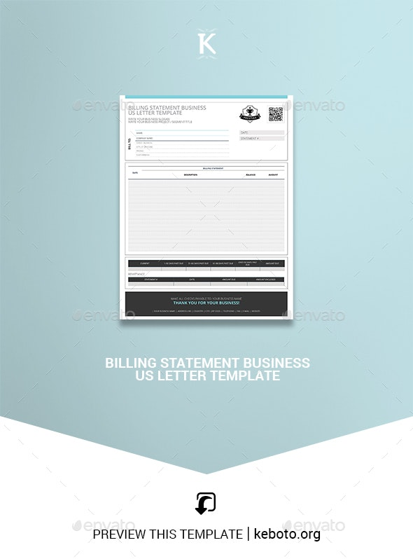 Billing Statement Business US Letter Template - Miscellaneous Print Templates