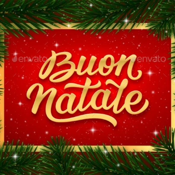 Merry Christmas Card Design with Italian Text