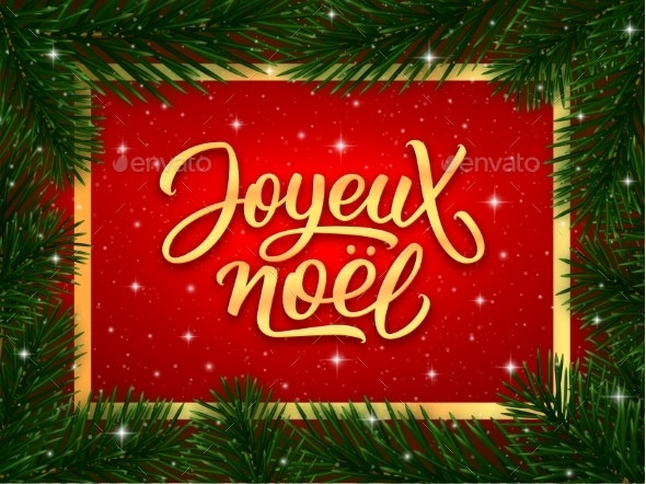 Merry Christmas Calligraphy Text in French - Christmas Seasons/Holidays
